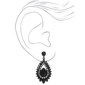 "2.5"" Crystal Teardrop Drop Earrings - Black,"