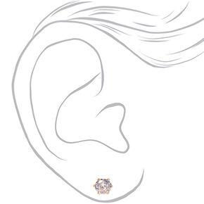 Rose Gold Cubic Zirconia 7MM Round Stud Earrings,