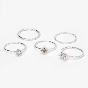 Silver Textured Cubic Zirconia Stone Rings - 5 Pack,