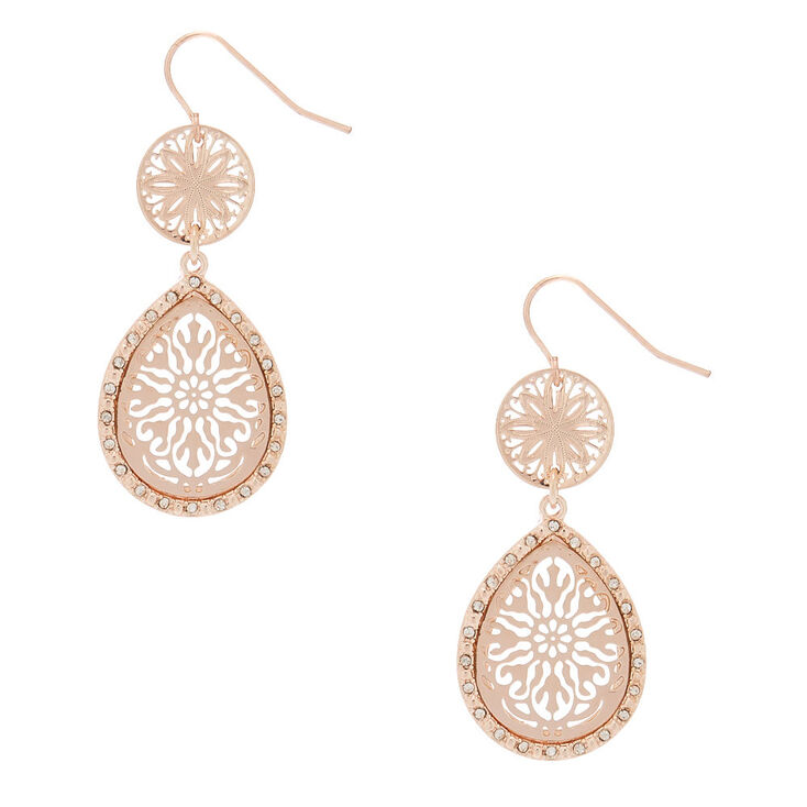 "Rose Gold 1.5"" Crystal Filigree Drop Earrings,"