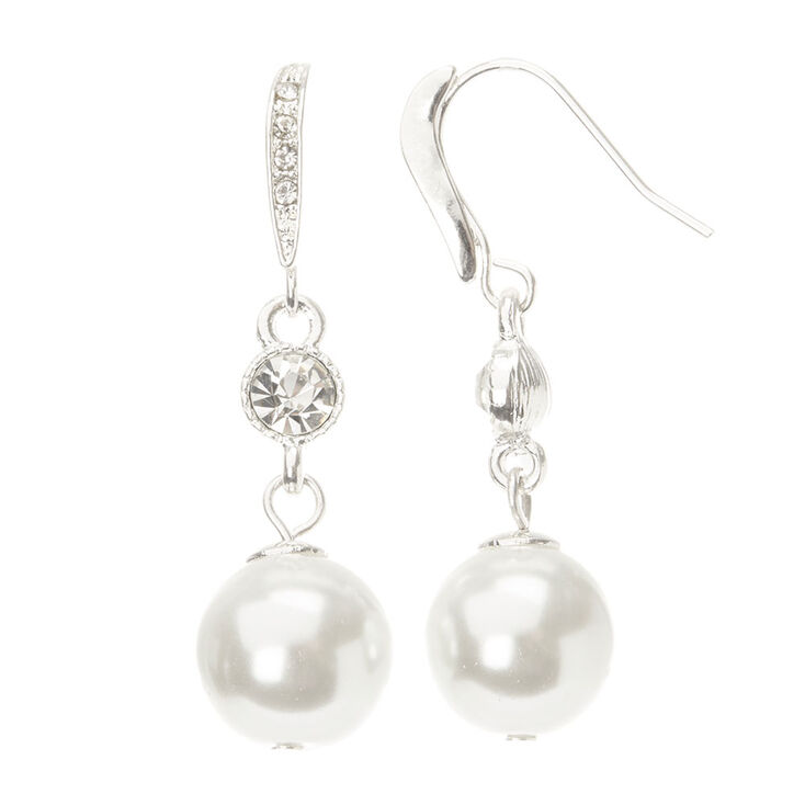 Linear Crystal Large Pearl Drop Earring