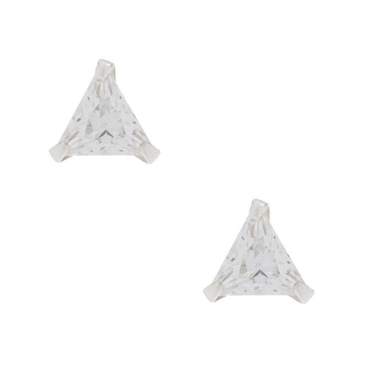 Sterling Silver Cubic Zirconia 5MM Triangle Stud Earrings,