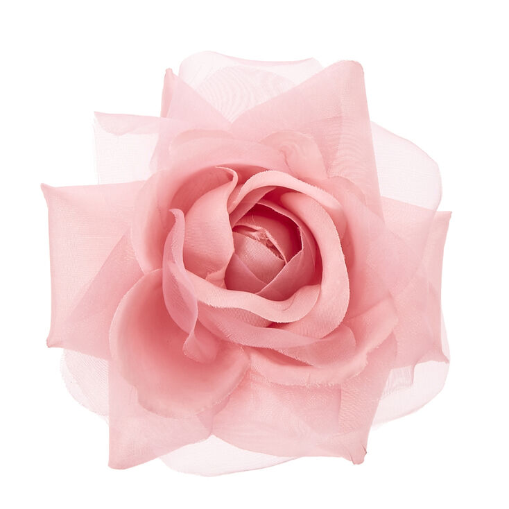 Blush Pink Chiffon Rose Hair Clip,