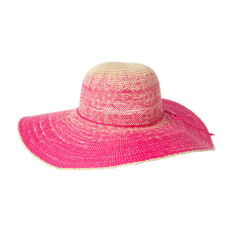 Straw Floppy Hat with Cord Bow Trim - Pink,