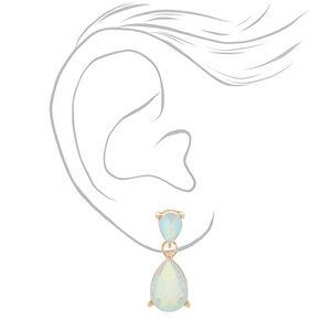 Iridescent White Teardrop Drop Earrings,