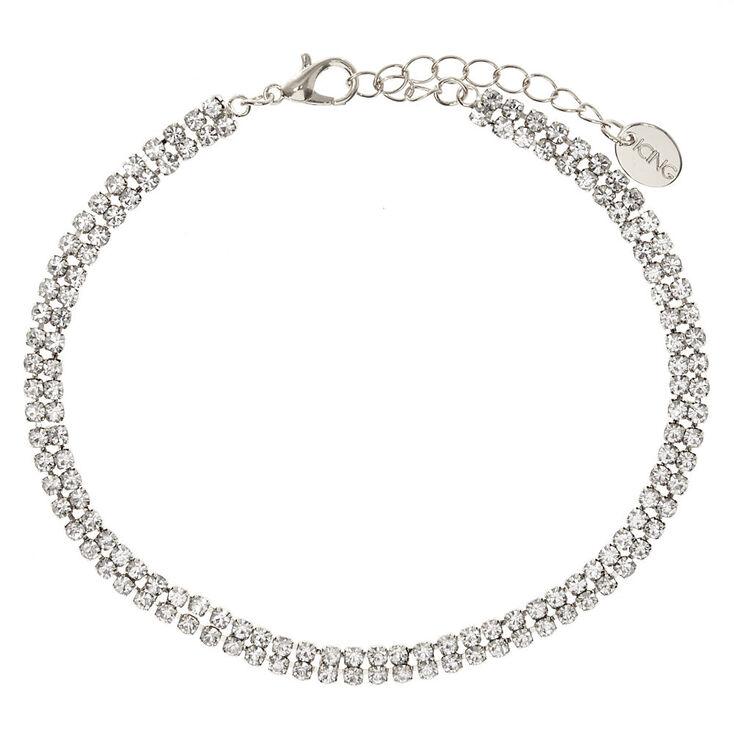 Silver Tone Rhinestone Anklet,
