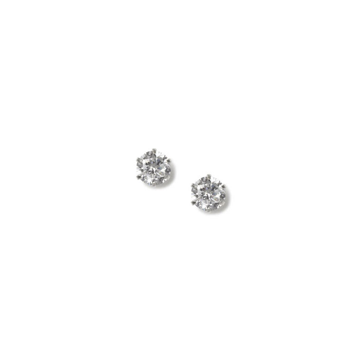4MM Round Cubic Zirconia Sterling Silver Cupcake Set Stud Earrings,