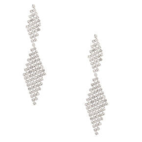 "Silver Rhinestone 2"" Double Diamond Drop Earrings,"