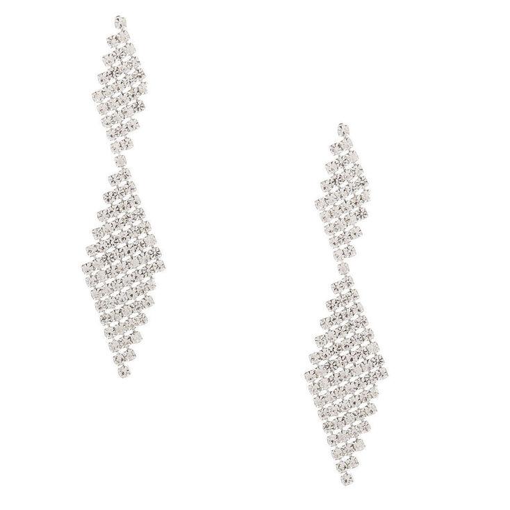 """Silver Rhinestone 2"""" Double Diamond Drop Earrings,"""