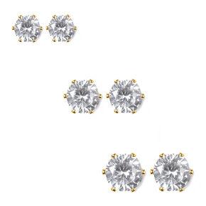 Cubic Zirconia Round Six Prong Set Stud Earrings Set of 3,