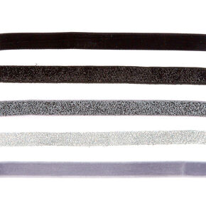5 Pack Gray Scale Glitter Choker Necklaces,