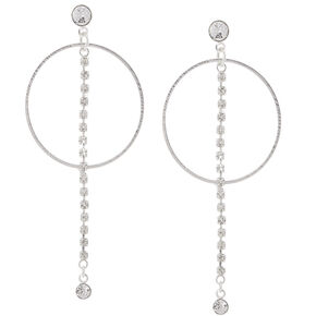 Silver Orbit Drop Earrings,
