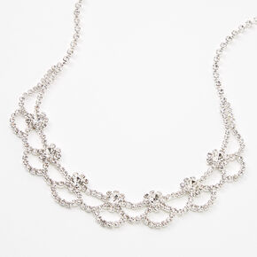 Silver Rhinestone Flower Necklace,