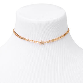 Gold Embellished Initial Chain Choker Necklace - A,