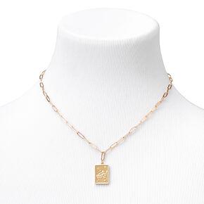 Gold Rectangle Zodiac Symbol Pendant Necklace - Aquarius,
