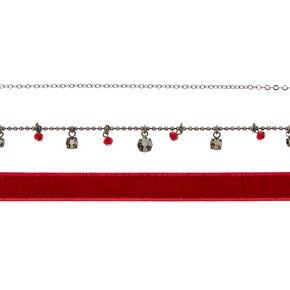 Hematite Velvet Choker Necklaces - 3 Pack,