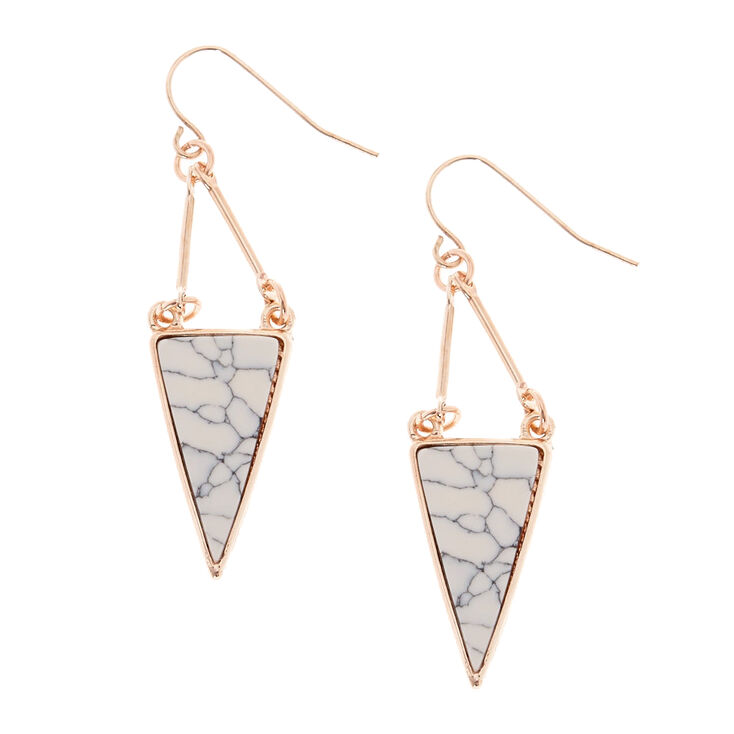 Gold Tone Marbled Geometric Drop Earrings,