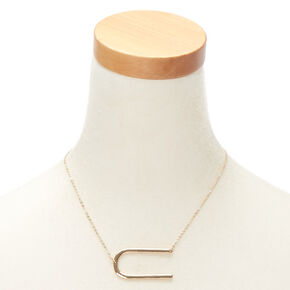 Oversized Initial Pendant Necklace - U,