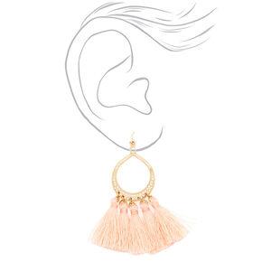"""3"""" Tassel Drop Earrings - Blush,"""
