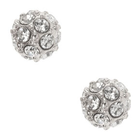 Silver Crystal Fireball Stud Earrings,