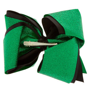 Green Glitter & Black Hair Bow Clip,