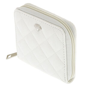 White Quilted Compact Wallet,