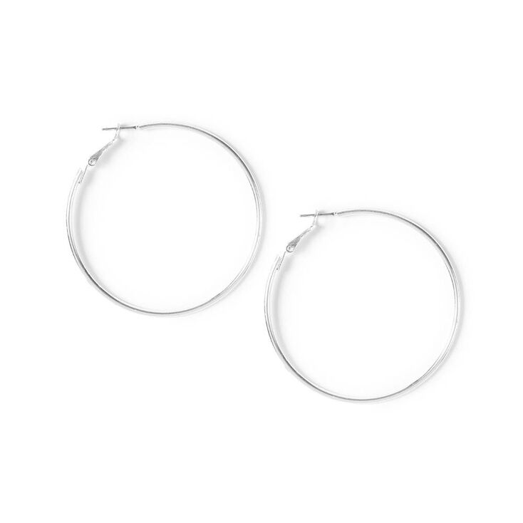 Medium Silver Hoop Earrings,
