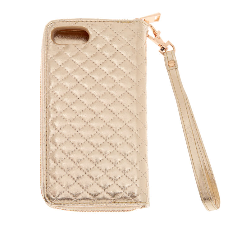Rose Gold Quilted Tech Wallet - Fits iPhone 6/7/8 Plus,