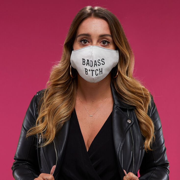 Cotton White Badass B*tch Face Mask - Adult,