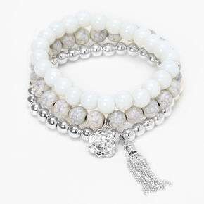 Rose Marble Beaded Stretch Bracelets - White, 3 Pack,