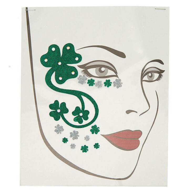 Shamrock Glitter Face Stickers,