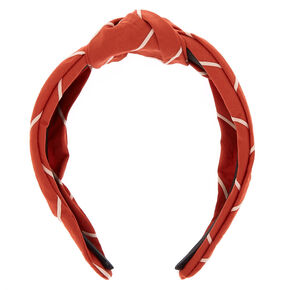 Striped Knotted Headband - Rust,