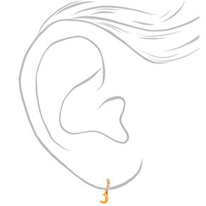 18kt Gold Plated Dangle Moon Hoop Earrings,