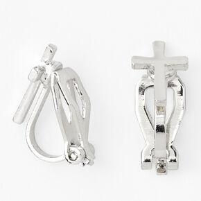 Silver Cross Clip On Stud Earrings,