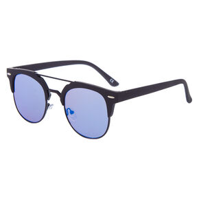 Matte Browline Aviator Sunglasses - Black,