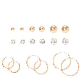 9 Pack Rose Gold Stud & Hoop Earrings Set,