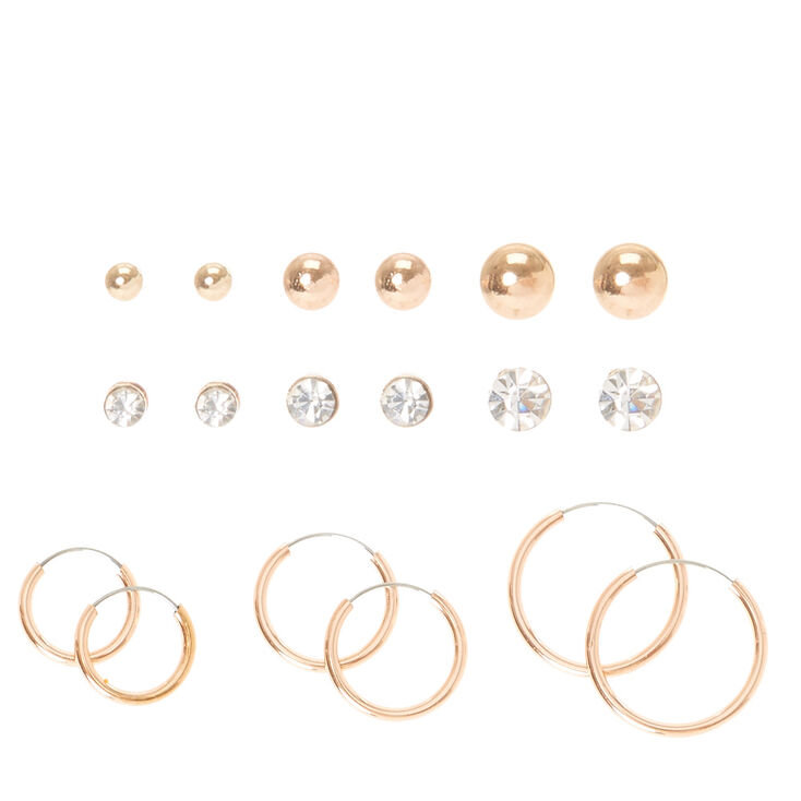 9 Pack Rose Gold Stud & Hoop Earrings Set,