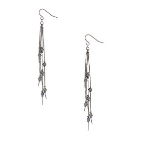 "Hematite 3"" Linear Bead Drop Earrings,"