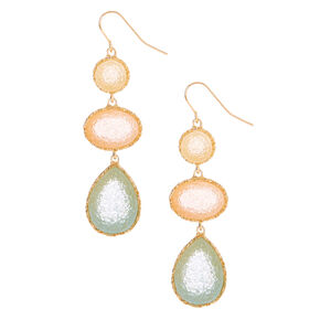 "Gold 2"" Pastel Stone Drop Earrings,"