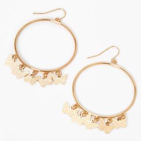 """Gold 2"""" Butterfly Charm Hoop Earrings,"""