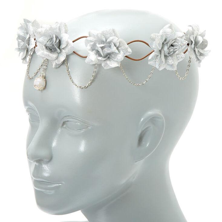 Silver Flowers & Chains Flower Crown Headwrap,