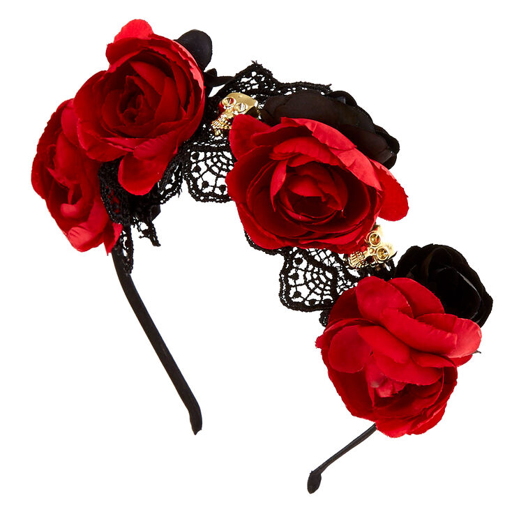 Day of the Dead Rose Headband,