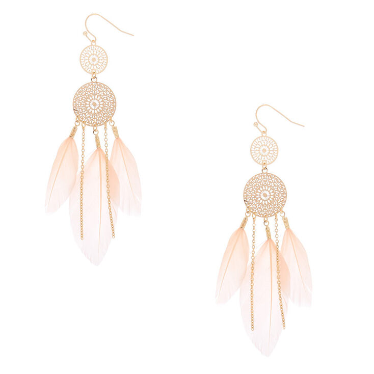 "Gold 3.5"" Filigree Dreamcatcher Feather Drop Earrings - Pink,"
