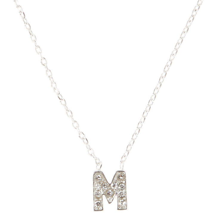 Silver Embellished Initial Pendant Necklace - M,