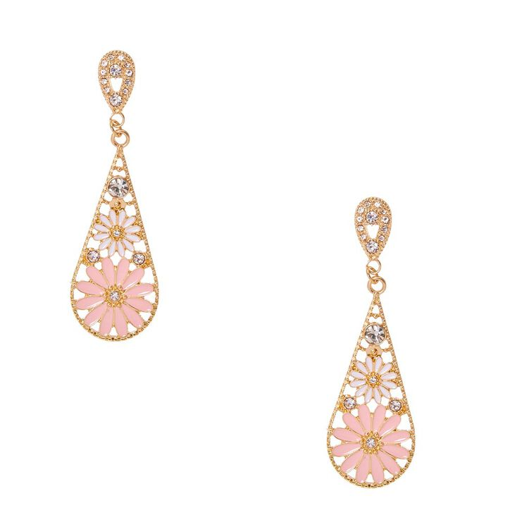 Gold-Tone Flower Cluster Earrings with Simulated Rhinestones,