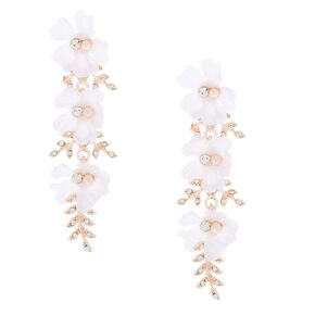 "2.5"" Rose Gold Rhinestone Flower & Leaf Drop Earrings,"