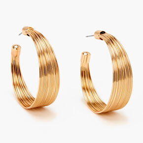 Gold 40MM Wide Spring Hoop Earrings,