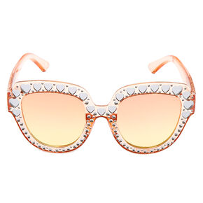 Oversized Embellished Heart Sunglasses - Pink,
