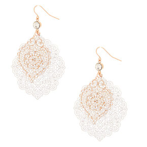 "Mixed Metal 2.5"" Filigree Layered Drop Earrings,"