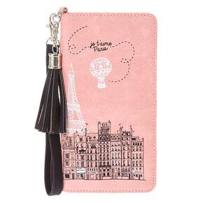 Je T'aime Paris Pink Tassel Wristlet,